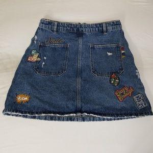 Zara Trafaluc Patch Denim Mini Skirt Small